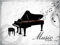 Wholesale music art decor - Music Forever Piano Wall Art Mural Poster Decor Musical Note Home Decoration Wallpaper Graphic Piano Room Living Room Decal Sticker