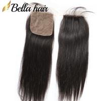 en kaliteli bakire kıl kapatma toptan satış-Bella Hair® 10 ~ 20 inç En Kaliteli 4 * 4 Doğal Renk Perulu Bakire İnsan Saç Düz Ipek Taban Kapatma Ücretsiz Kargo