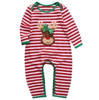 neugeborenes baby sleepwear winter groihandel-Weihnachten Baby Kleidung Strampler Gestreiften Pyjamas Nachtwäsche Strampler Langarm Baumwolle Overalls Neugeborenen Kinder Kleidung Baby Jungen Mädchen Kleidung