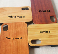 Wholesale Iphone 4s Cases Bamboo - Bamboo rose wood cherry wood walnut White maple  Handmade Wood PC Phone Case Wooden Cover For iphone x 8plus 8 7 7plus 6 6plus 5 5S SE 4 4S