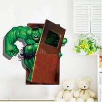 autocollants super-héros 3d achat en gros de-Stickers muraux de la chambre des enfants Vengeurs créative effet 3D super héros The Hulk sticker mural decal cadeau livraison gratuite