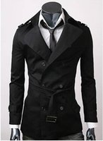 Wholesale Mens Black Xxl Trench Coat - Fashion Brand Trench Coat Men Europe America Style Double-Breasted Mens Coats And Jackets 3 color Size M-XXL new arrive !!!dorp ship