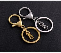 Wholesale Kc Gold Plating - KC Simple Circle Keyrings Alloy Key rings Auto Metal Key Chain Gold Silve Plated Lobster Clasp key Holders