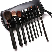 Wholesale synthetic leather case - High End Korean Style 9pcs Set Makeup Brushes Professional Pearly Handle Goat Hair Make Up Brush Kit With Leather Case Gift