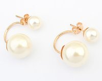Wholesale Pearl Bridal Earings - Pearl Earings Fashion Jewelry Wholesale China Channel Jewelry Korean Double Pearls Earrings Bridal Gold Earrings big candy ball Stud Earings