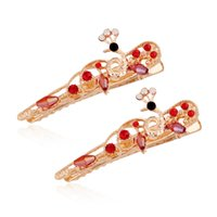 Wholesale Gold Plated Austrian Crystal Peacock - New 2016 Fashionable Peacock Barrette 8 colors Yellow Gold Plated with Austrian Crystal Hair Accessory Jewelry Woman Girl's Gift