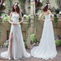 Wholesale Designer Split Front Wedding Gown - Free Shipping Chiffon Wedding Dresses A Line Sweetheart Thigh-High Slita Lace-up Back with Crystals Beads Summer Beach Bridal Gowns CPS238