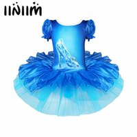 Girls Blue Crystal Shoes Imprimir Ballet Tutu Dress Kids Children Dancewear Gym Ballet Leotard Performance Party Dance Dress