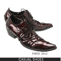 Wholesale Bronze Mens Dress Shoes - High Quality Mens Dress Shoes Patent Leather British Style Male Oxfords Burgundy Black Bronze Lace-Up Business Shoes Party Wedding Shoes Man