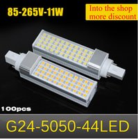 Wholesale G24 Led Dimmable - 100pcs 2015 NEW Aluminum Horizontal Plug light LED G24 SMD 5050 11W AC85V 110V 220V 265V Non-Dimmable LED Corn bulb lamp, 44leds Chandelier