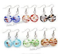 Wholesale Earring Murano - Fashin wholesale 6Pairs handmade mix color Italian Gold sand Round Lampwork murano glass Earrings Free shipping