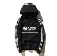 Wholesale Tiding Brand - Tide Brand palace skateboard Reflective zipper stripe couple Hoodies Kanye West Abloh Virgil outdoor sport hoodies