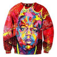 Wholesale Animal Crewneck Sweatshirt - New men women's notorious b.i.g 3D pullover hoodie print oil painting Biggie smalls sweatshirt crewneck casual hip-hop clothing