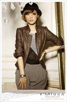 Wholesale Leather Jackets Trendy Women - Wholesale-Free Shipping Women Faux Leather Trendy Career Casual Jacket Outerwear Long Sleeve Black Khaki