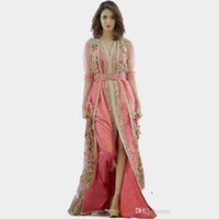 Wholesale Misses Clothes - pink dress Morocco Turkey robes 2018 New high quality long sleeve clothes fabric in dubai islamic robes evening dresses 134