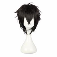 ingrosso capelli in fibra giapponese-Mcoser 30 cm breve parrucca cosplay sintetico giapponese nero 100% fibra ad alta temperatura capelli 5 stili di colore spedizione gratuita parrucca -339