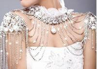 kristal görüntüler düğün toptan satış-Ekip Yüksek Boyun Gerçek Görüntü Kristal Gelin Beyaz Sarar Dantel Yüksek Boyun Boncuk Düğün Omuz Zinciri Asil Takı Rhinestones