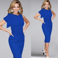 2016 Sexy Casual Women Dresses Elegant Ruffle Sleeve Ruched Party Evening Prom Fitted Stretch Wiggle Pencil Sheath Dresses