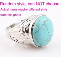 Wholesale Turquoise Stone Ring Free Shipping - Vintage Turquoise Ring Tibetan Natural Turquoise Stone Rings Free Shipping
