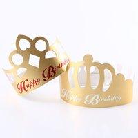 ingrosso il cappello del partito usa e getta-Cappellini festosi Festa di compleanno Forniture New Design Paper Golden Crown monouso Cap ePacket Spedizione gratuita