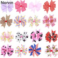 Wholesale Mixed Grosgrain Ribbon Printed - Norvin 28 Pcs  Lot Girls Clip Kids Grosgrain Ribbon Bows Hair Clip S Hair Accessories Hair Pin Wholesale 28 Print Hc068