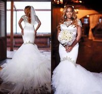 Wholesale traditional wedding dress straps for sale - Group buy 2018 African Nigeria Traditional Wedding Dresses Crystal Beads Sheer Tulle Short Sleeves Mermaid Bridal Gowns Dress Plus Size