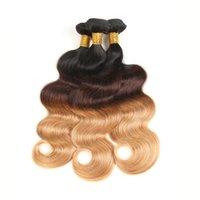 pelo brasileño libre entonado al por mayor-Paquetes de tejido de cabello brasileño Ombre 1b / 4/27 # Paquetes de cabello humano de onda corporal Extensión de cabello de 3 tonos 3 o 4 paquetes Envío gratis