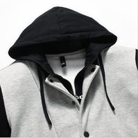 Wholesale Letterman Jacket Hoodie - Fall-New Casual High Quality Mens Varsity Jacket Hooded Letterman Jackets Double Layer Black Gray Varsity Hoodie For Man AY431