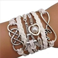 Wholesale Silver Chain Bracelete - Wholesale- Fashion Bracelete Women Jewelry Silver Plated Eiffel Tower pendant Leather Chain Cute Infinity Charm Bracelet Bangles