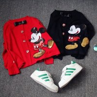 Wholesale Childrens Cardigan Sweaters Wholesale - 2 Color Children Sweaters Cardigan 2015 New Cartoon Mickey Sequin Girls Knitted Cardigan Long Sleeve Sweater Childrens Cardigan Outwear