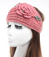 Wholesale Head Hand Warmers - Hand Made Soft Warm rhinestone Headbands Womens Ladies Winter Crochet Head Wrap Beanies Hats hair accessories headwear Turban Bandanas WHA43