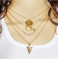 Statement Necklace 2016 New Arrival Gold Plated Angel Wings Arrow Multilayer Necklace Colar Multi Layer barato Colar Pingente Longo Colar