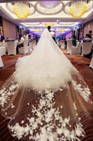 Wholesale Cathedral Veil 5m - Luxury Appliques Cathedral Lace Tulle Wedding Veils Handmade Flowers Exquisite White   ivory Tulle Bridal Veil 5m * 3m