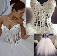 Wholesale Bridal Dress China Ball Gown - Vestidos De Noiva White Strapless Romantic Wedding Dresses Ball Gown Pearls Bridal Gowns Lace Up Back Tulle China W4002