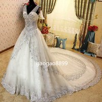 zuhair murad champagne wedding dress with best reviews - 2016 V Neck lace Zuhair Murad Real Wedding Dresses Sheer Strap Lace SWAROVSKI sparkly luxury Crystals Cathedral Train backless wedding gown