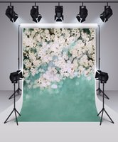 Wholesale Portrait Painting Backgrounds - Freeshipping 5x7 Children Photo Background Photography Backdrop Flowers in Flower Portrait Kids Backdrops Green Photo Props Backgrounds