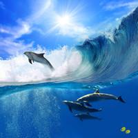 corredor parede papel de parede venda por atacado-Oceano Papel De Parede Do Golfinho Personalizado 3D Murais de Parede Underwater World foto papel de parede Natureza Crianças interior Quarto decoração do quarto Corredor Peixe Bonito