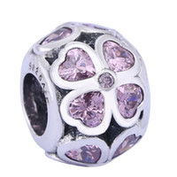 Wholesale Pandora Charms 925 Ale - Sterling Silver Charms 925 Ale Heart Pink Clover Charms for Pandora Bracelets DIY Fixed Beads Accessories Heart Charms