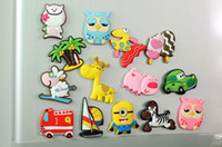 Wholesale Car Sticker Tree - Cartoon Fridge Magnets Fashion Cute 3D Flexible glue Animals Tree Cars Zebra Sheep Owl Home Decoration Animal Gel refrigerator magnets H141