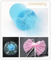 "Wholesale Wholesale Aqua Tutus - New Arrivals-4 Rolls 6""x100y Aqua Blue Color Tulle Rolls Spool Tutu DIY Craft Wedding Banquet Fabric Wedding Car Decor"