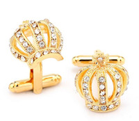 Wholesale Cheap Cufflinks Wholesale - Wholesale - Luxury Crown 18K Gold Plated Crystal Cuff Links Best Man Design Cufflinks Wholesale in Bulk Cheap