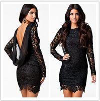 Wholesale Vestido Renda Plus Size - 2016 Spring New Black Crochet Lace Open Back Vintage Mini Dress E21138 Vestido curto de renda festa plus size XL Casual Lace Loose Dress