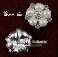 Wholesale Wholesale Flatback Rhinestones Pearls - 5%off (60PCS LOT) 16MM silver Handmade Starburst Metal Crystal Pearl Button For Bridal Brooch Alloy Rhinestone Flatback Wedding Button