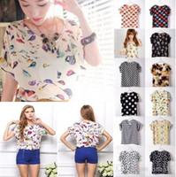 Wholesale Shirt For Woman Bird - S M L XL XXL 2015 Women Bird Printed Chiffon Blouses for Work Wear Polk Dot Shirt Women Tops Batwing Short-sleeve blusas 1039