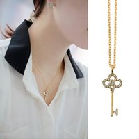 Wholesale Stylish Necklaces - Stylish and Casual Design Key Pendant Necklace New Coming Bisuteria Collars Necklace Gold Color Lady's Bijoux Jewelry Acessorios