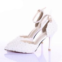 Wholesale ladies beautiful pumps for sale - Group buy White Lace Flower Wedding Shoes Pointed Toe Bridal Prom Party Shoes Lady Pumps Beautiful Bridesmaid Shoes with Ankle Straps