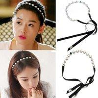 Wholesale Crystal Ribbon Hair Band Wholesale - New Korea Fashion Elegant Silver Pearl Crystal Silk Ribbon Hair Band Headband