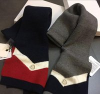 Wholesale Christmas Shawl Men - Luxury Brand MON New Fashion 100% Wool Men Designer Scarf Long High Quality Winter Scarves With Tassel For Christmas 190*30cm