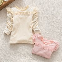 Wholesale T Shirt Korean Girls - New autumn princess girls t-shirts lace collar puff long sleeves kids tops korean style all-match children top kid clothing A7380
