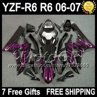 Wholesale Yamaha R6 Fairings Kit Pink - 7gifts++Tank Pink flames For YAMAHA YZFR6 YZF600 2006 2007 YZF R6 06-07 P96124 YZF R 6 YZF 600 Pink black YZF-600 YZF-R6 06 07 Fairing Kit